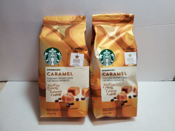 2 STARBUCKS COFFEE CARAMEL Medium Roast Ground Flavored 11 oz Bag BB 9 2020
