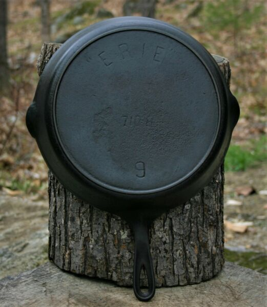 """""""ERIE"""" #9 Cast iron Skillet 710 H Circa 1905 1907 Ready to Use"""