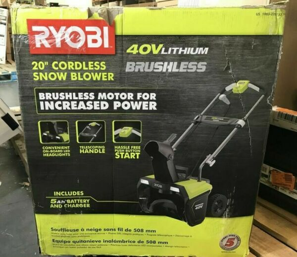 RYOBI 20 in. 40 V Single Stage Brushless Cordless Electric Snow Blower w Battery