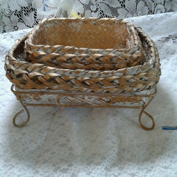 Set 2 Gold amp; White Woven Baskets in Gold Metal Carriers 11.5quot; x 9.5quot;amp; 9.75quot; x 7quot; $18.27