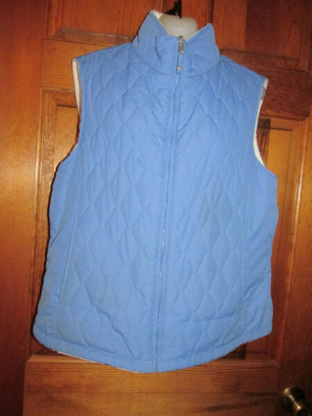 $70 FREE COUNTRY QUILTED VEST Reversible Pockets Blue White Large 10 12 38quot; 41quot; $18.00