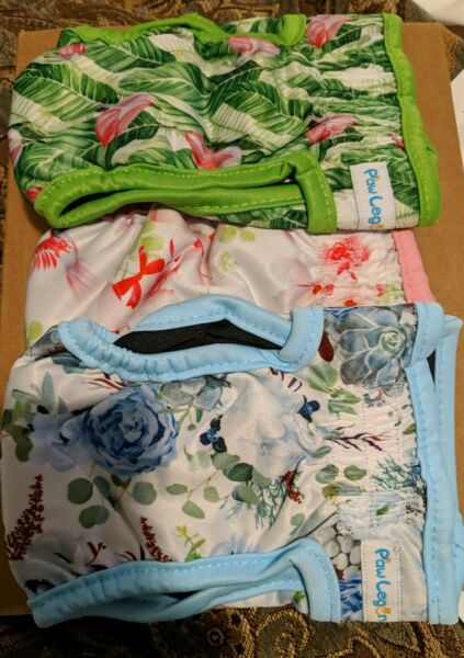 New 3 Pack FEMALE Dog Washable Wrap Diapers Waterproof Pet Wrap Bands XS $18.00