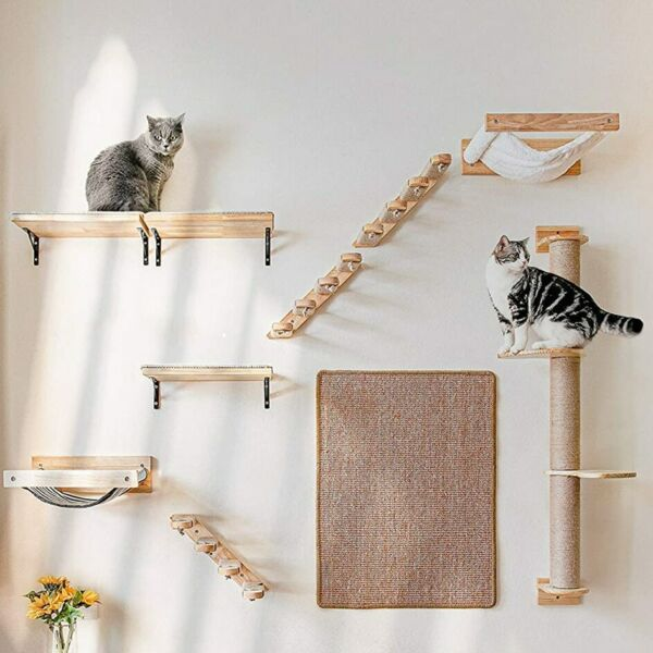 Pet Furniture Wooden Climbing Frame Cat Wall Steps Cat Tree Tower Wall Hanging $78.84