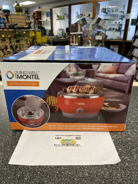 Living Well With Montel MWSG01 Smokeless Indoor Barbeque Grill Red SEALED NEW