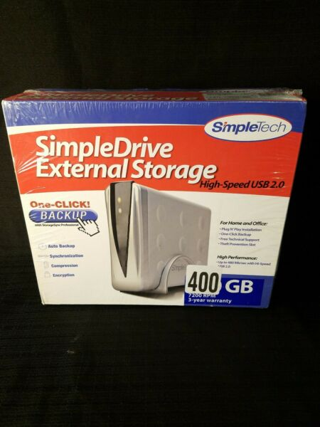 SimpleTech Simple Drive External Hard Drive Storage With USB Cable 400gb