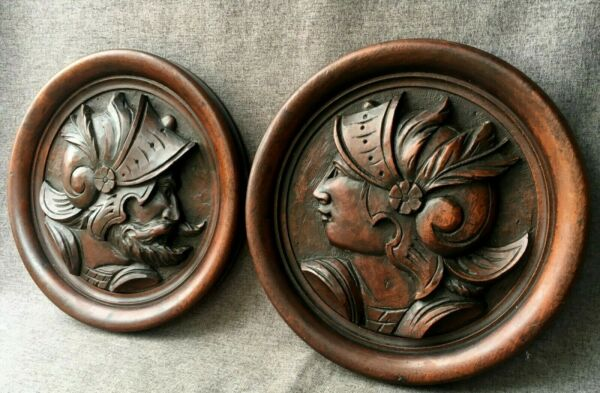 Antique pair of german black forest low relief portraits mid 1900#x27;s woodwork