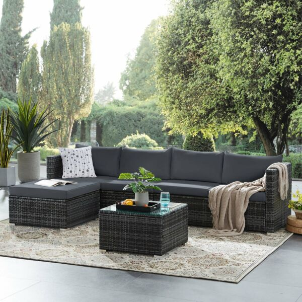 6 PCS Patio Furniture Sets Outdoor PE Wicker Rattan Sectional Sofa Set for Porch $566.99