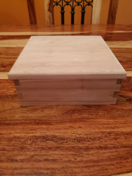 Unfinished Handmade 6quot;x6quot; Wooden Box With Hinged Lid DIY Project