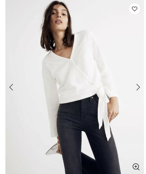 NWT Madewell Texture amp; Thread White Wrap Top White Size Small S $15.00