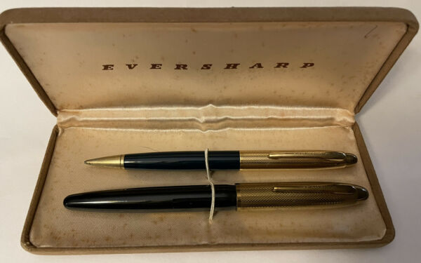 VINTAGE WAHL EVERSHARP FOUNTAIN PEN amp; PENCIL SET 18K NIB Org Case
