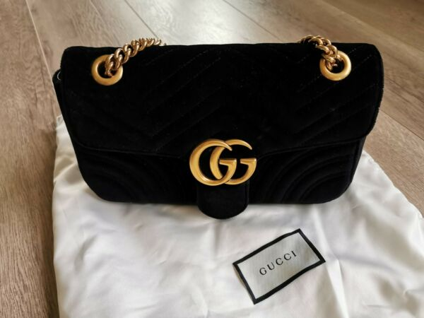 GUCCI GG Marmont matelassé small Bag BLACK velvet Crossbody Shoulder Bag $859.00