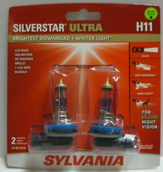 Sylvania Silverstar ULTRA H11 Pair Set High Performance Headlight 2 Bulbs
