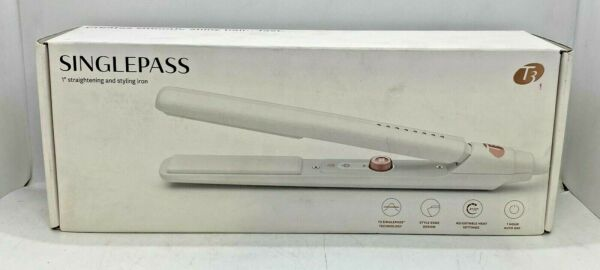 "T3 SinglePass Ceramic 1"" Straightening amp; Styling Flat Iron 5 Heat Settings White $49.99"
