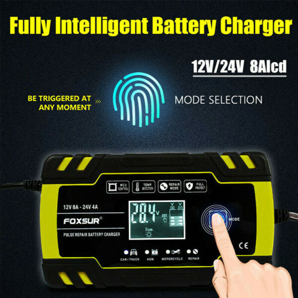 12V 24V 8 Amp Intelligent Smart Car Battery Charger Pulse Repair Starter AGM GEL $18.99