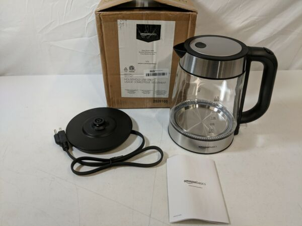 AmazonBasics 1.7L Glass and Stainless Steel Electric Water Kettle OPEN BOX NEW $38.79