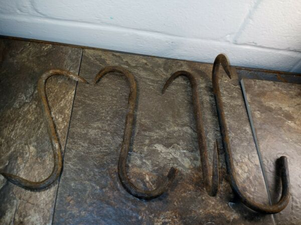 Antique Meat Hook Butcher Tool Hook Smokehouse Farmhouse Forged Iron 4