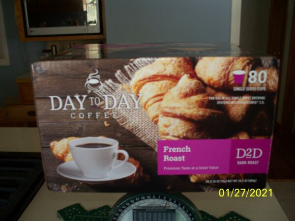 Day to Day Coffee Keurig Cups K cups 80 Count French Roast Dark Roast New Fr