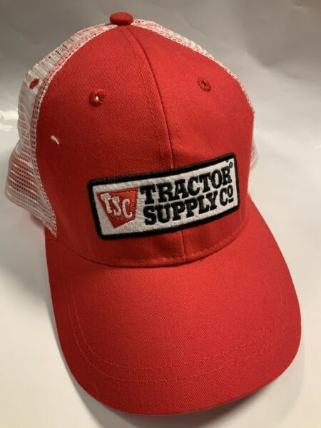 TSC Tractor Supply Company Red amp; White Mesh Embroidered Trucker Hat Cap Snapback $7.99