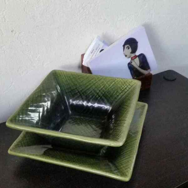 Square Green Soup and Flat Plates Duo HOME $22.00