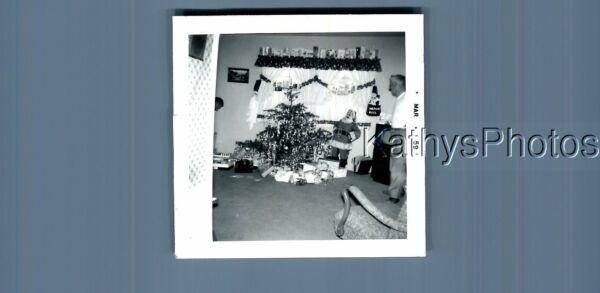 BLACK amp; WHITE PHOTO F0464 VIEW OF PRESENTS UNDER SMALL CHRISTMAS TREE $3.98