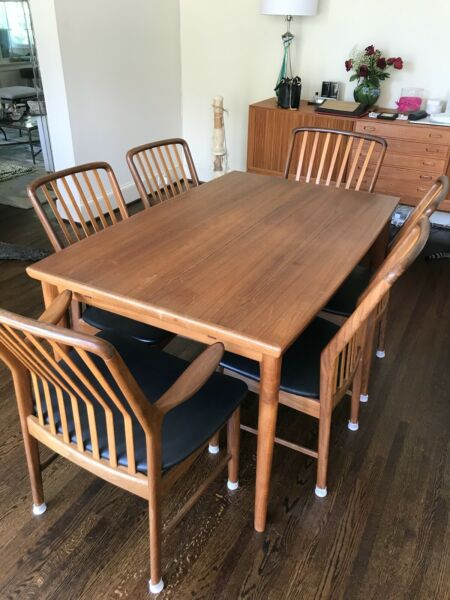 Mid Century Modern Svend Aage Madsen Dining Table And 6 Chairs