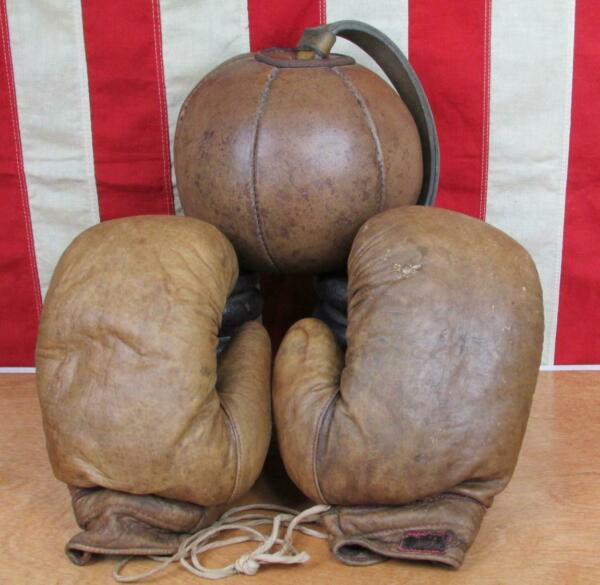 Vintage 1920s Antique Boxing Leather Punching Striking Bag Unusual w Gloves Gym