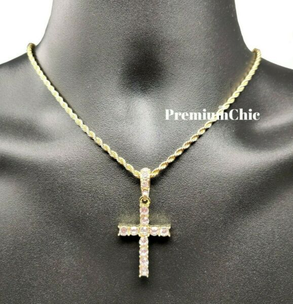 Iced Cross Pendant with 3MM Rope Chain Necklace Mens Hip Hop Gold Plated Jewelry $11.99