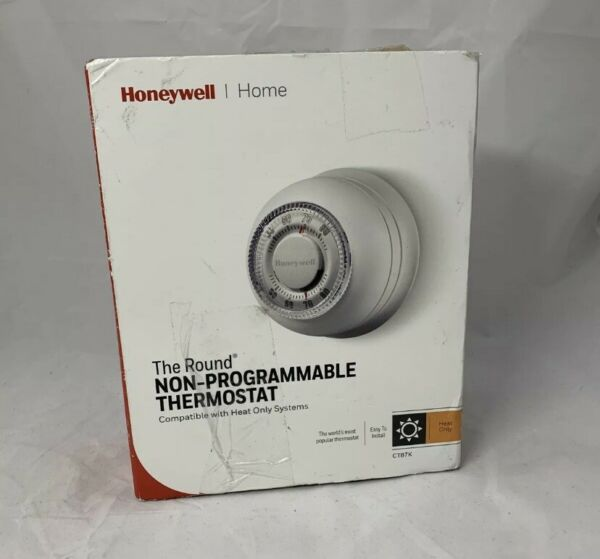 Honeywell CT87K Round Nom programmable HEAT ONLY Thermostat Open Box $17.99