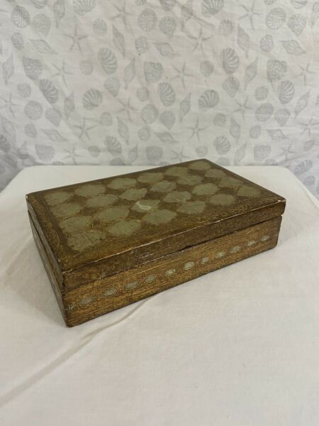 Florentine vintage box made in Italy gold green jewelry trinkets