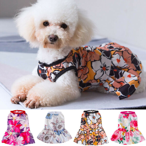 Pet Dress Floral Printed Vest Skirt Puppy Cats Small Dogs Chihuahua Dog Clothes C $5.53