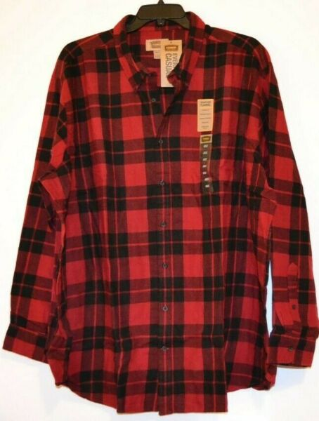 MENS FOUNDRY FLANNEL SHIRT BIG amp; TALL SIZE: 4XLT COLOR: RED BLK PLAID CLASSICFIT