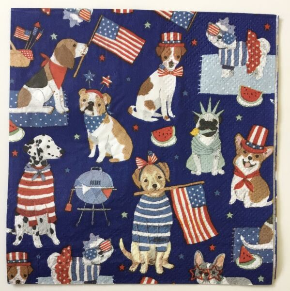 TWO Patriotic Pups Paper Napkins Decoupage Dog Dogs July 4th Summer Flag $1.90