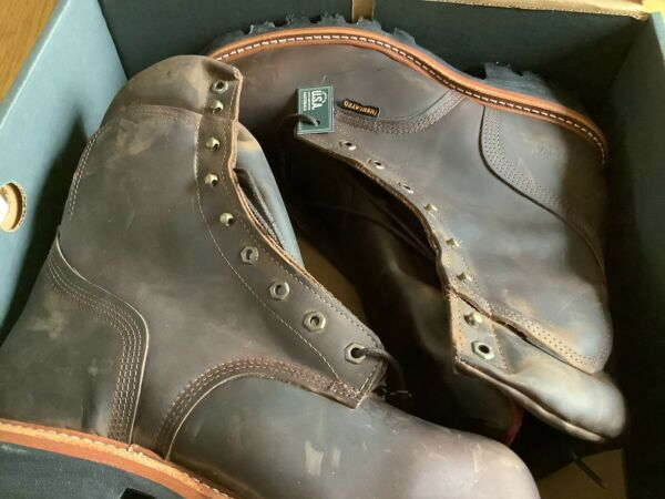 Men#x27;s Chippewa 9quot; Arador Logger Steel Toe Waterproof Boot Brown Made in USA 2nds