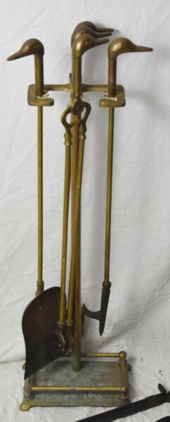 Vintage Brass Duck Head Fireplace Tool Set 5 Piece 4 Tools amp; Stand
