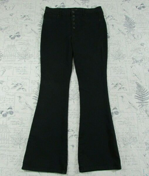 NEW Express Extreme Stretch High Rise Slim Flare Jeans Women#x27;s Button Front 12