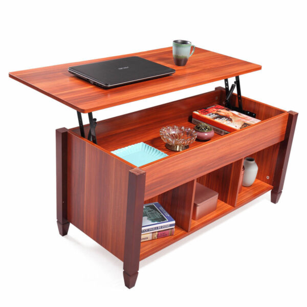 Lift Top Convertible Coffee Table w Hidden Compartment Storage Shelf Living Room