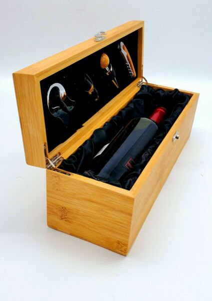 Wooden Wine Box amp; Tools Gift for Wine with 5 pc bar tool set wine carrier
