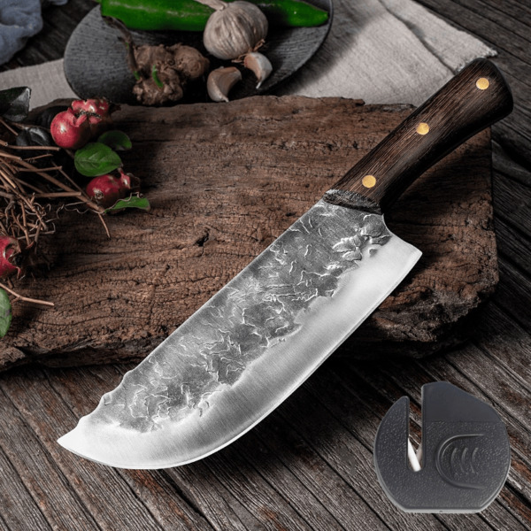 Forged Cleaver Handmade Kitchen Meat chopping Stainless Steel Chef Butcher Knife