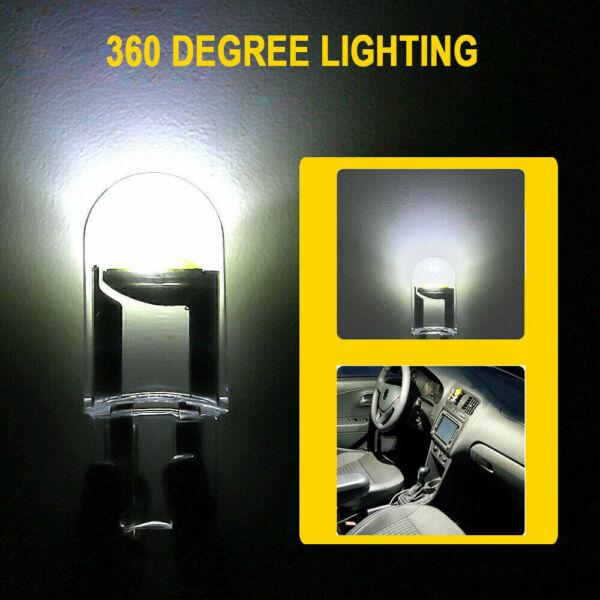 10x White LED T10 194 168 W5W Interior Map Trunk Cars License Plate Lights Bulb $3.98