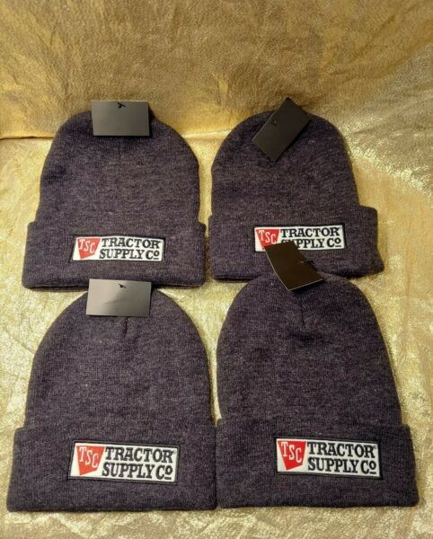 Lot of 4 TRACTOR SUPPLY Logo Men#x27;s Winter Hat Beanie Gray Beanie New W Tags Knit $9.99