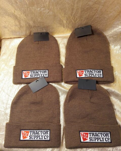 Lot of 4 TRACTOR SUPPLY Logo Men#x27;s Winter Hat Beanie Brown Beanie New Tags Knit $9.99