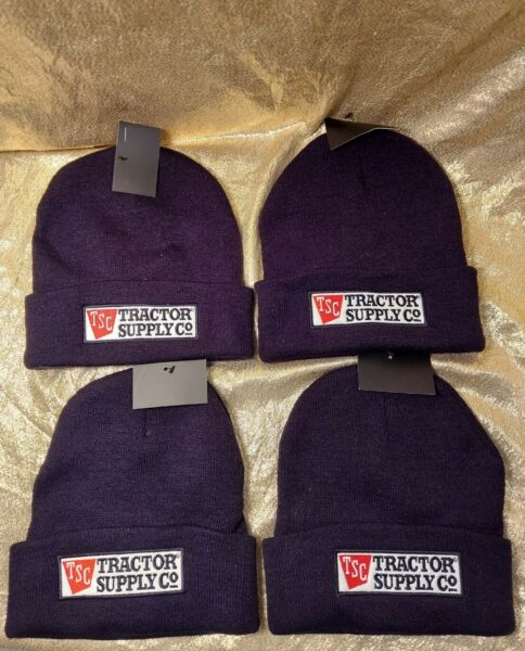 Lot of 4 TRACTOR SUPPLY Logo Men#x27;s Winter Hat Beanie Black Beanie New Tags Knit $9.99