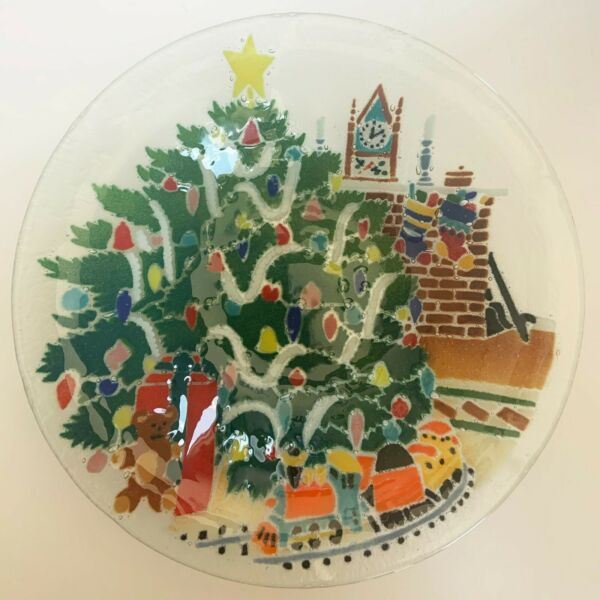 Peggy Karr Christmas Tree Bowl X LARGE 13quot; FUSED ART GLASS Signed