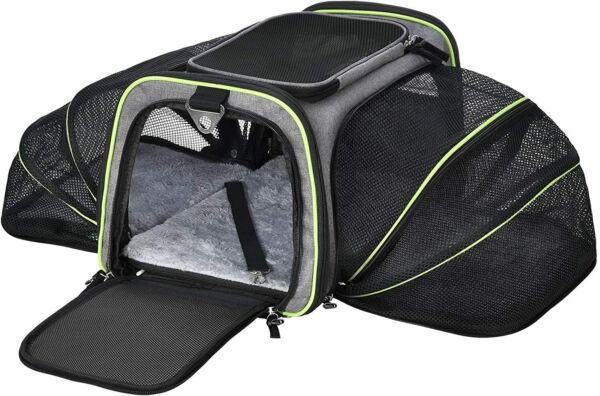Pet Carrier 2 Sides Expandable Foldable Soft Sided 5 Open Doors Removable Fleece $45.00