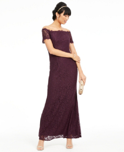 Adrianna Papell Off The Shoulder Lace Gown Currant 14 $29.99