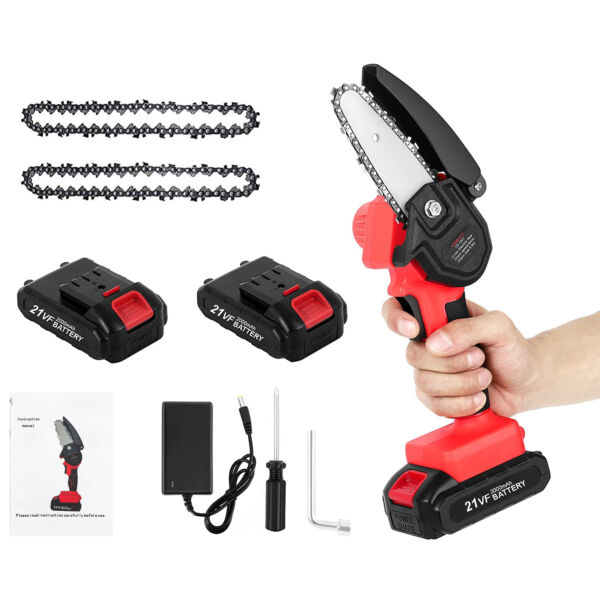 Electric Mini Chainsaw Cordless With 2Pack Battery 2 Replacement Saw Chain $43.90
