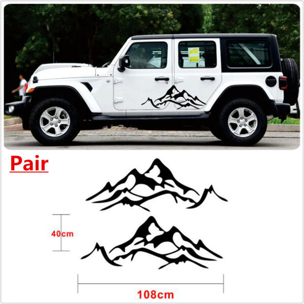 2Pcs Black Vinyl MOUNTAIN Fender Side Sticker Decal Sets FOR JEEP SUV UNIVERSAL $26.71