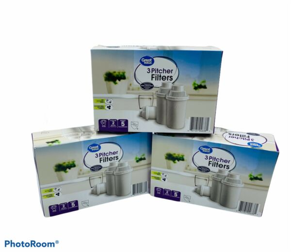 Lot of 3 Great Value Replacement Pitcher Filters Fit Brita Water Walmart 9 Total