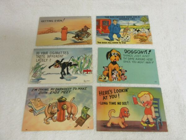 6 Linen Comic Postcards All are Dog Related $2.99