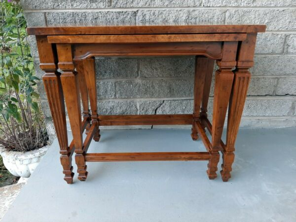 Vintage Heritage Furniture Cherry Nesting Table with Curly Burl Wood Banding